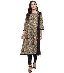 MUSTARD Women's Cotton Kalamkari Print A-Line Kurta