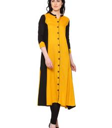 Yellow Women's Rayon Long A-Line Kurta