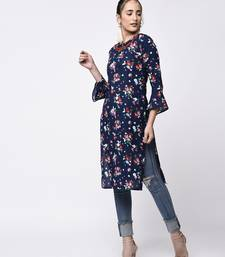 Blue Women's Cotton Floral Print Straight Kurta