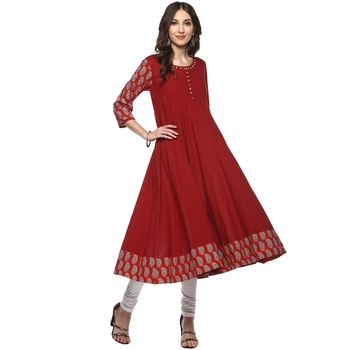 Mehroon Women's Cotton Printed Anarkali Kurta