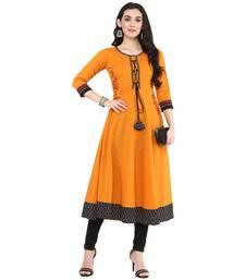 Mustard Women's Cotton Embroidered Anarkali Kurta