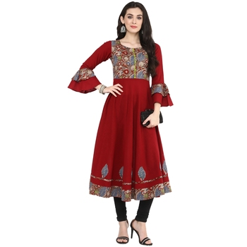 Maroon Women's Cotton Patch Work Anarkali Kurta