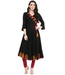 Black Women's Rayon Patch Work Anarkali Kurta