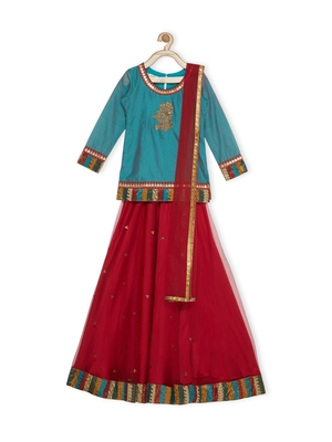 Maroon Embroidered Faux Net Stitched Lehenga