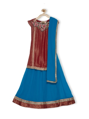 Blue Embroidered Faux Georgette Stitched Lehenga