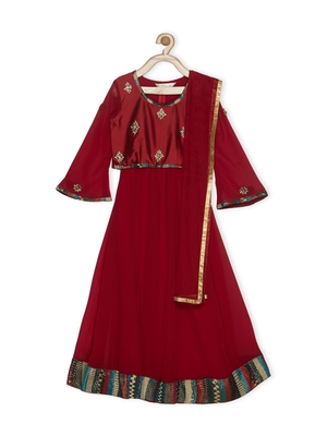 Maroon embroidered faux georgette stitched lehenga