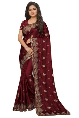 Maroon embroidered fancy fabric saree with blouse