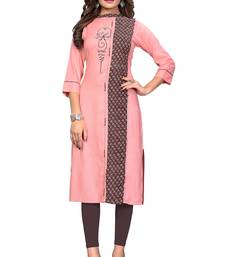 Light-peach printed rayon kurti