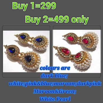 Buy 2 blue and Dark pink Double Gota earring