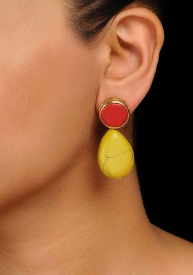 Red-Yellow Handcrafted Earrings