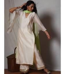 Ivory Chanderi Bell Sleeve Kurta with Gold Gota Lace Farshi Pant & Chiffon Dupatta