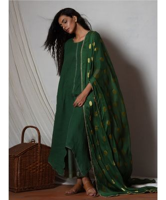 Cocktail Green Kurta with Kota Silk Farshi Pant and Chiffon Bordered Dupatta