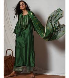 Cocktail Green Jute Kurta with Kota Silk Farshi Pant and Chiffon Bordered Dupatta