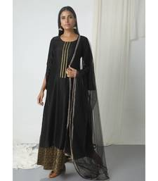 Black Floral Skirt Kurta with Dupatta