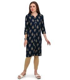 Dark-blue printed rayon kurti