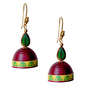 Maroon Quilled Jhumkas