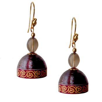 Brown Quilled Jhumkas