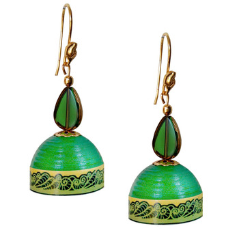 Leaf Green Quilled Jhumkas