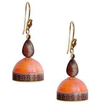 Orange Quilled Jhumkas