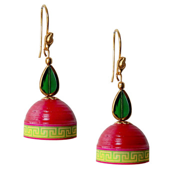 Red Quilled Jhumkas