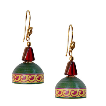 Deep Green Quilled Jhumkas