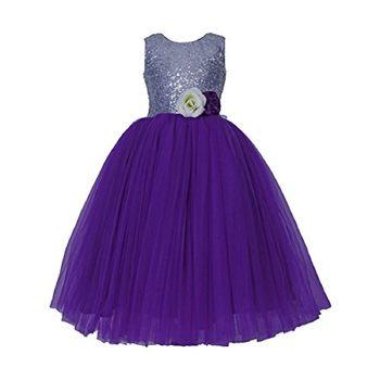Purple Plain Net Kids Girl Gowns