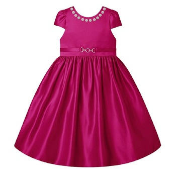 Pink Plain Raw Silk Kids Frocks