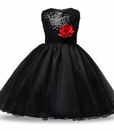 Black Plain Net Kids Frocks
