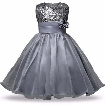 Grey Plain Net Kids Frocks