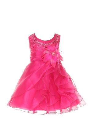 Pink Plain Tissue Kids Frocks