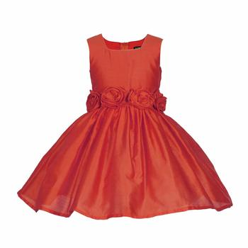 Red Plain Raw Silk Kids Frocks