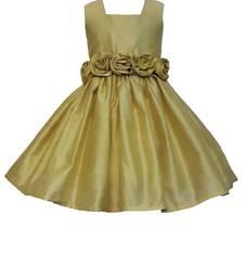 Gold Plain Raw Silk Kids Frocks