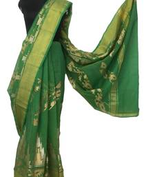 Green art silk embroidered saree with blouse