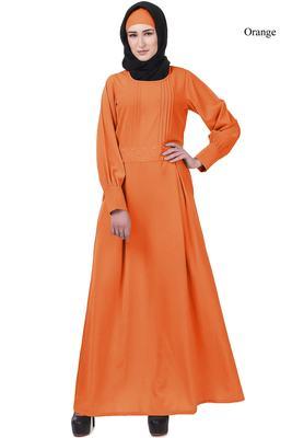 Mybatua orange Crepe Saffiya Abaya