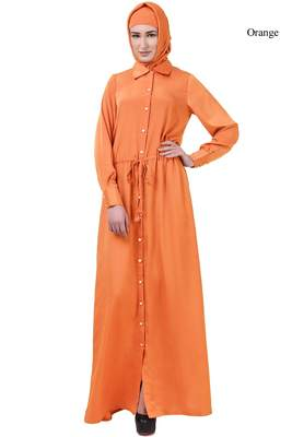 Mybatua orange Crepe Ayaat Abaya