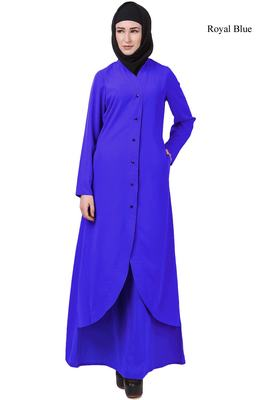 MyBatua Blue Crepe Kehara Abaya