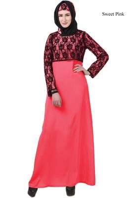 Mybatua pink Crepe Faeezah Abaya