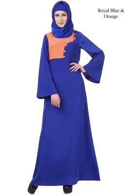 MyBatua Blue Crepe Enisa Abaya