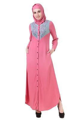 MyBatua Pink Rayon Subayah Abaya