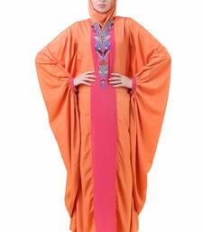 MyBatua Orange Crepe Orange Batwing Style Crepe Abaya Ay-706