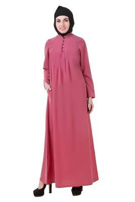 MyBatua Pink Crepe Dusty Pink Crepe Abaya