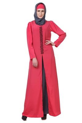MyBatua Pink Crepe Sweet Pink & Grey Split Front Abaya