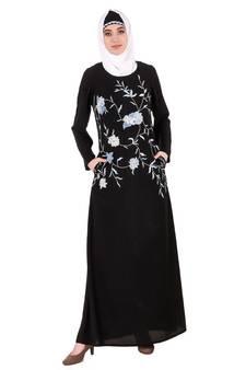 5ad24efb2234 Mybatua Pink Nida Black Leaf and Flower Embellished Black Nida Abaya