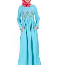 MyBatua Turquoise Crepe Turquoise Embroidered Crepe Abaya