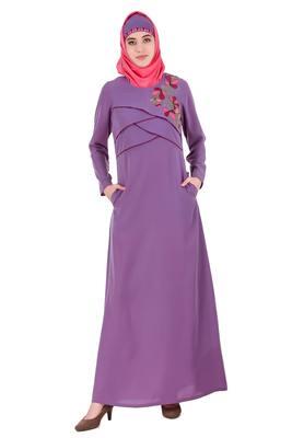 MyBatua Purple Crepe Purple Cross Layer Crepe Abaya