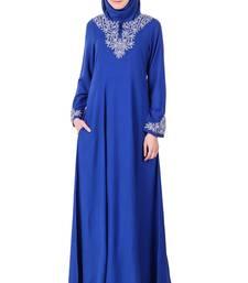 MyBatua Blue Rayon Split Neck Of Embellished Rayon Abaya