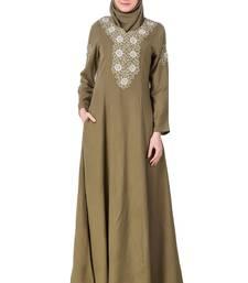 MyBatua Green Rayon Princes Seam Embellished Front Abaya