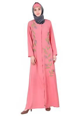 MyBatua Pink Crepe Dusty Pink Front Open Embellished Abaya