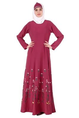 MyBatua Pink Nida Embroidered Multi Panel Eid Abaya