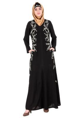 MyBatua Black Nida Black Leaf Embroidered Nida Abaya
